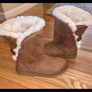 SO Junebug Kohl's Fur Suede Boots 7 Chestnut Brown